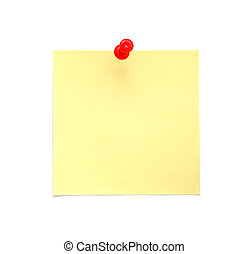 Blank yellow sticky note with red pushpin isolated on white background
