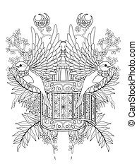 bird adult coloring page
