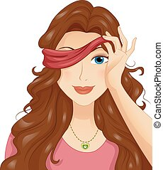 Illustration of a Girl in a Blind Date Taking Off Her Blindfold