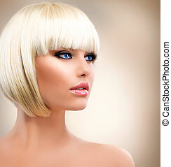 Blonde Girl Portrait. Blond Hair. Hairstyle. Stylish Make-up