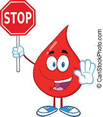 Happy Red Blood Drop Character Holding A Stop Sign