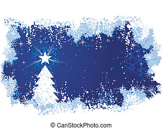 Blue abstract background with ice and snow, a Christmas tree with stars and grunge elements. Great for seasonal / winter themes. Space for your text.