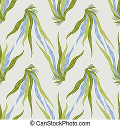 Blue and green colored seaweeds ornament seamless aqua pattern. Simple hand drawn marine artwork with grey background.