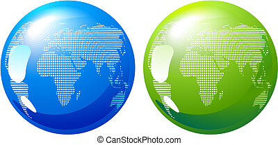 Blue and green Earth