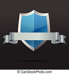 Blue and silver shield with ribbon. Vector illustration.