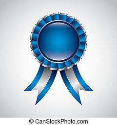 blue award ribbon over gray background. vector illustration