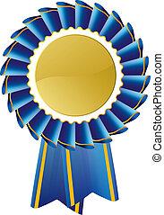 Blue award seal rosette, editable vector illustration