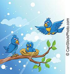 blue bird family with snow