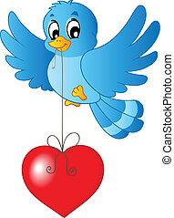 Blue bird with heart on string - vector illustration.