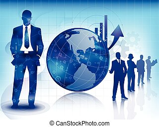 Blue business and technology background