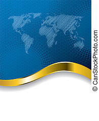 Blue business brochure design with world map and halftone