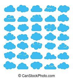 Blue cartoon clouds set