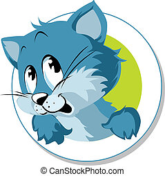 blue cat looking from an oval frame