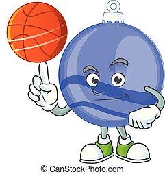 Blue christmas ball cartoon with mascot holding basketball