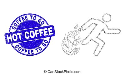 Blue Distress Coffee to Go Hot Coffee Stamp Seal and Web Mesh Person Running Away from Fire