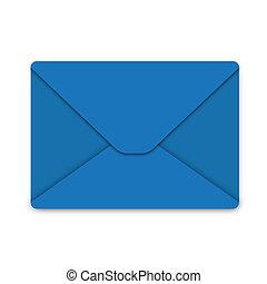 Illustration, envelope from blue paper on white background