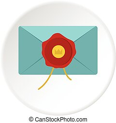 Blue envelope with red wax seal icon circle