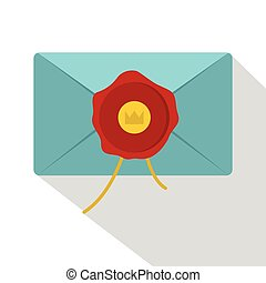 Blue envelope with red wax seal icon, flat style