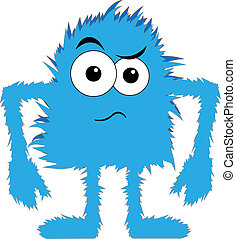 artoon blue hairy creature angry expression