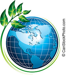 Blue shiny globe with green plant - eco concept, vector illustration