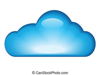 Blue glossy cloud isolated on white background. vector illustration