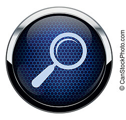 Blue honeycomb magnifying glass icon.