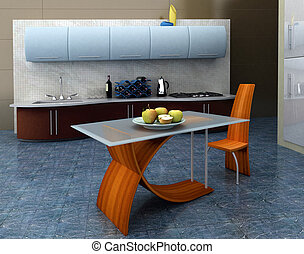 Modern kitchen with apples on the table