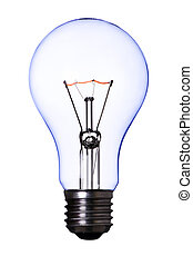 blue lamp bulb on white with clipping path