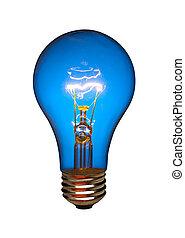 Blue light bulb, isolated