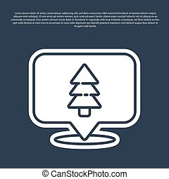 Blue line Location of the forest on a map icon isolated on blue background. Vector Illustration