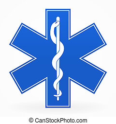 Blue Healthcare Illustration with snake isolated on white