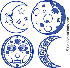 A collection of four, blue moon symbols