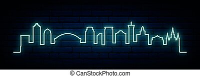 Blue neon skyline of New Orleans city.
