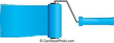 Blue paint roller brush with blue paint, Part 2, vector illustration