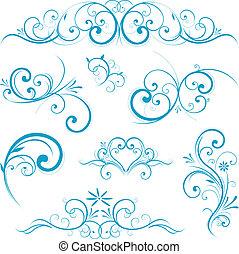 blue scroll shape design