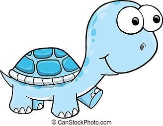 Blue Silly Turtle Vector