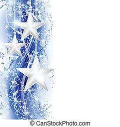 Border, frame with silver stars hanging over a blue silver wavy pattern embellished with stars and snow flakes. Bright, vivid and festive for the season to come with space for your message. EPS10