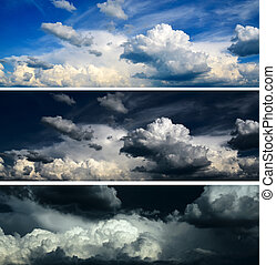 Blue sky with rich white clouds, dramatic sky with clouds and stormy sky with closing in clouds - 3 piece sky background set