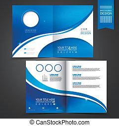 blue template design for advertising brochure