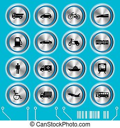 Blue transportation icons set