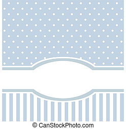 Blue vector card or invitation for birthday or baby shower party with sweet vintage strips and white polka dots. Cute background with white space to put your text