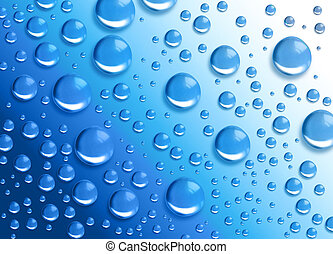 A blue water drop moisture background has many drops of water on it.