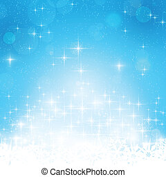Blue winter, Christmas background with stars and lights