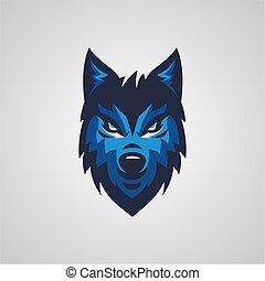 blue wolf mascot and e sport logo