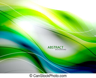 Blue and green blurred smooth wave abstract background