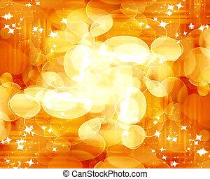blurred lights on a bright orange background