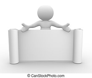 3d people - man, person with a blank board