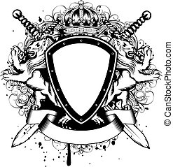 Vector illustration of abstract frame with crown, crossed swords, heraldic lions and an ornament