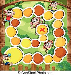 Boardgame template with monkey in the woods