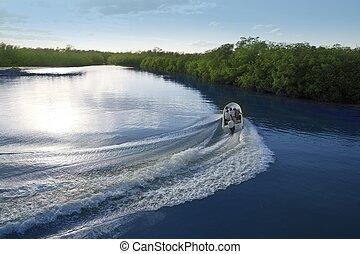 Boat ship wake prop wash sunset lake river